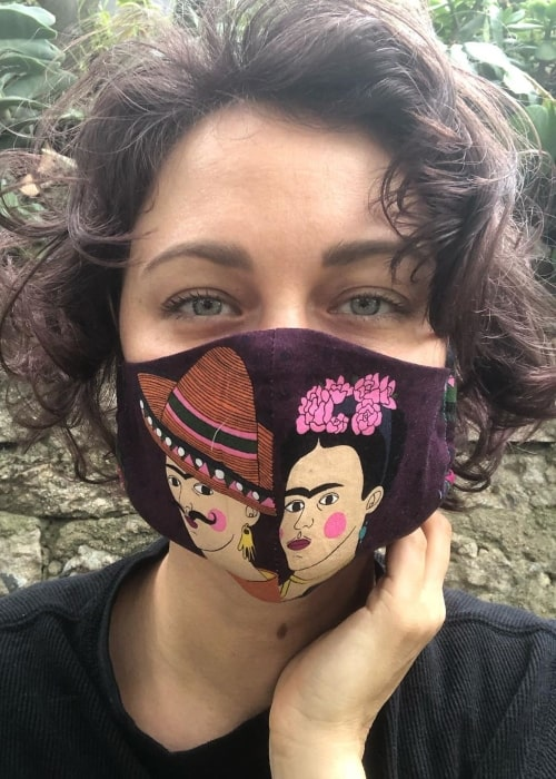 Deanna Russo as seen in a selfie taken while sporting a beautiful hand-stitched mask during the Covid-19 pandemic in May 2020 (Deanna Russo / Instagram)